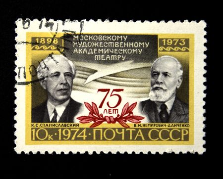 founders: A stamp printed in USSR shows founders of Moskow Art Theater Vladimir Nemirovich-Danchenko and Constantin Stanislavski, circa 1973.