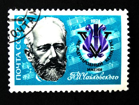 repertoire: A stamp printed in USSR shows Russian composer Pyotr Ilyich Tchaikovsky, circa 1974. Stock Photo