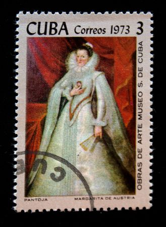 A stamp printed in Cuba shows draw of artist  Pantoja Margarita de Austria, one stamp from series Art museum of Cuba, circa 1973