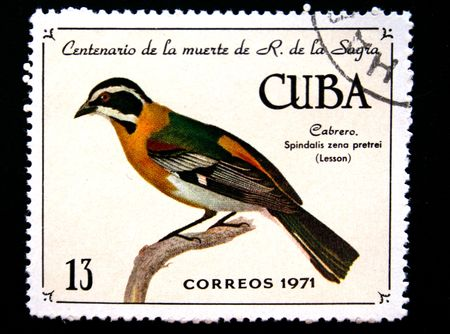 postmail: A stamp printed by Cuba shows the Bird goatherd (spindalis zena pretrei - Lesson), stamp is from the series of the 100th anniversary of death of R. de La Sagra, circa 1971.