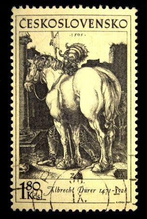 durer: Un timbro stampato in Cecoslovacchia mostra di incisione di Albrecht Durer, circa settanta