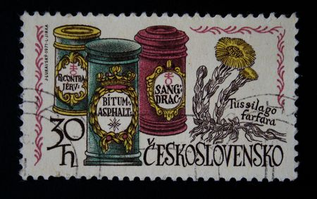 A stamp printed in Czechoslovakia shows Medical products in an ancient drugstore, circa 1971 photo