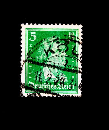 A stamp printed in Germani shows Friedrich Schiller, circa 1930-1940s photo