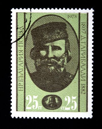garibaldi: A stamp printed in Bulgaria shows Giuseppe Garibaldi, one stamp from series, circa 1978 Stock Photo