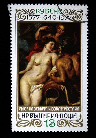postmail: A stamp printed in the bulgaria shows fragment of draw of artist Peter Paul Rubens  The Union of Earth and Water, circa 1977