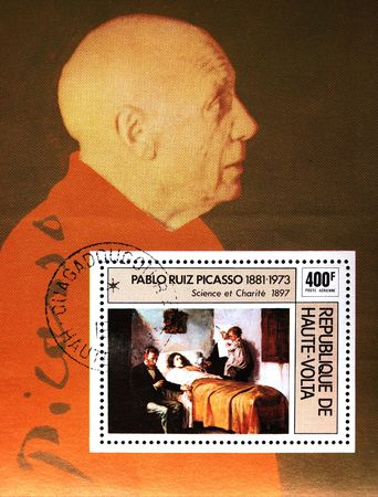 picasso: A stamp printed in Republic of Upper Volta shows Pablo Picasso and his draw