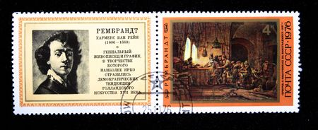 parable: A stamp printed in the USSR shows draw of artist Rembrandt Parable about workers on a vineyard,  one stamp from series, circa 1976