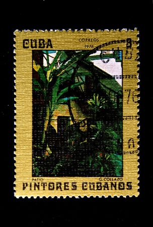 A stamp printed in Cuba hows paint of artist G.Gollazo