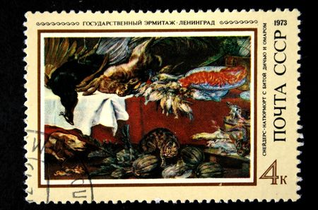 frans: A stamp prunted in the USSR shows paint Still Life with Dead Game and omar by artist Frans Snyders, stamp from collection Hermitage, circa 1973