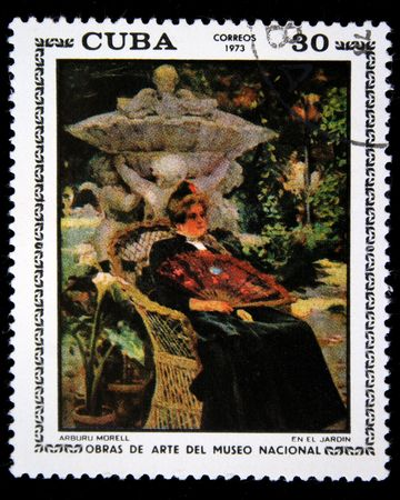 morel: A stanp printed in Cuba hows paint of artist Aburu Morel In the garden, one stamp from series National Museum of Fine Art, circa 1973