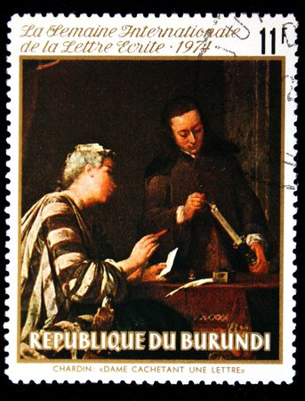 canceled: BURURNDI - CIRCA 1974: A stamp printed in Burundi shows paint Sealing the Letter by artist Jean-Baptiste-Simon Chardin, one stamp from series, circa 1974