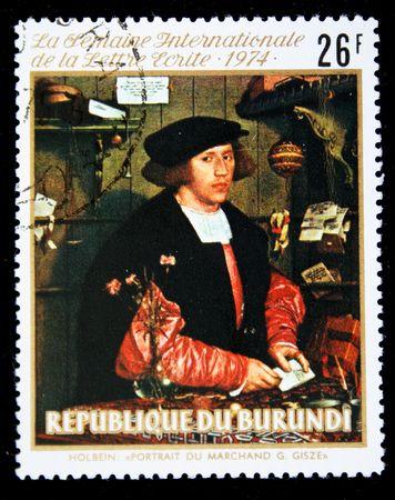 printmaker: A stamp printed in Burundi shows paint