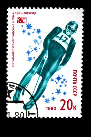 bobsled: A stamp printed in the USSR shows bobsled, devoted to the Winter Olympic Games in Lake Placid, one stamp from series, circa 1980.