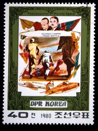 conqueror: A stamp printed in DRK Korea (North Korea) shows Secondo Campini  and Frank Whittle and their plane, one stam from series The Conqueror of Sky and Space, circa 1980