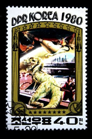 A stamp printed in DRK Korea (North Korea) shows scene of Star Wars, one stam from series, circa 1980 photo
