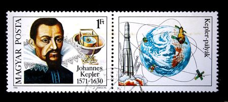 eponymous: A stamp printed in Hungary shows Johannes Kepler, circa 1980