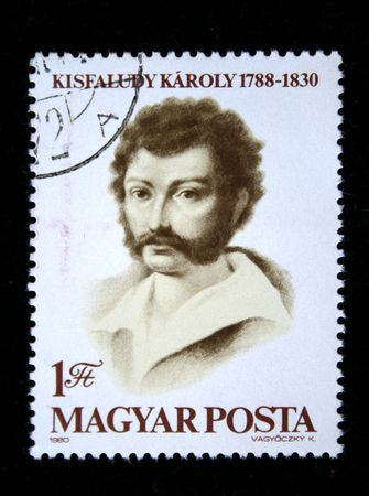 dramatist: A stamp printed in Hungary shows Kisfaludy Karoly, circa 1980