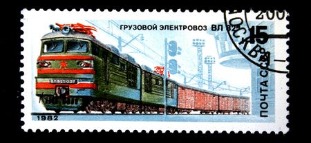 conveyance: A stam printed in USSR shows Cargo electric locomotive VL 82m, stamp from series, circa 1982