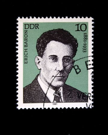 baron: A stam printed in GDR shows Erich Baron, circa 1981