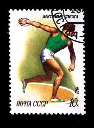 lanzamiento de disco: Un sello impreso en la URSS muestra Discus throw, alrededor del a�o 1981 Foto de archivo