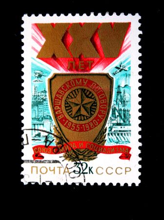 pact: A stamp printed in the USSR devoted 25 years of Warsaw Pact, circa 1980