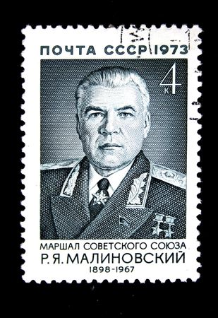 A stamp printed in the USSR shows Marshal of the Soviet Union Rodion Malinovsky, circa 1974 photo