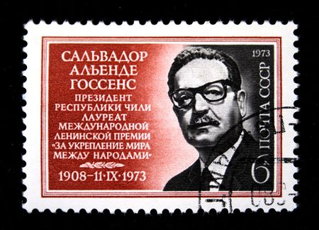 salvador allende: A stamp printed in the USSR shows Salvador Allende, circa 1973 Editorial