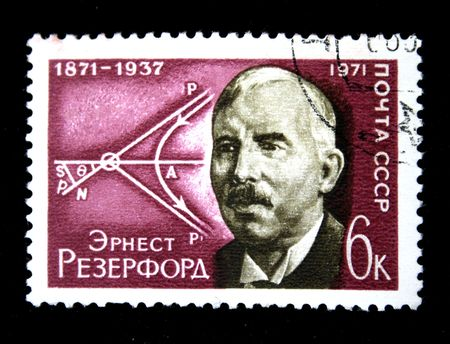 A stamp printed in the USSR shows Ernest Rutherford, circa 1972 Foto de archivo