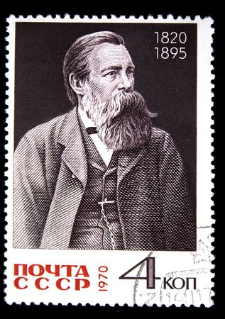 karl: A stamp printed in the USSR shows Karl Marx, circa 1970
