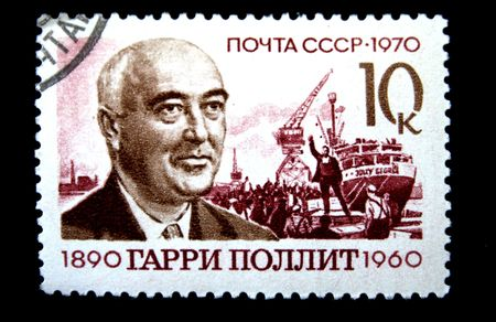 britan: A stamp printed in the USSR shows Harry Pollitt, circa 1960 Stock Photo