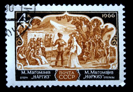 prolific: A stamp printed in the USSR shows scene of opera