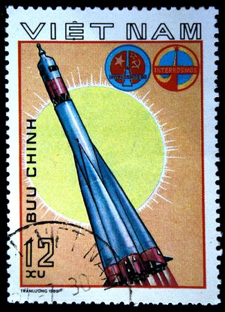 vostok: A stamp printed in Vietnam shows spaceship Soyuz, stamp from series honoring Intercocmos program, circa 1980