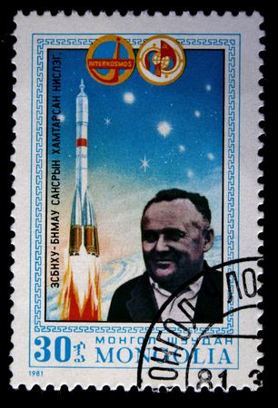 vostok: A stamp printed in Mongolia shows general disigner Sergey Koroliov, stamp from series honoring Intercocmos program, circa 1981