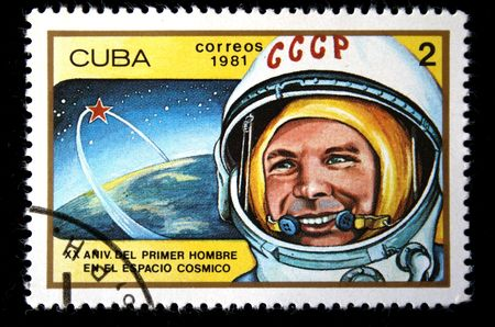 spaceflight: A stamp printed in the Cuba shows cosmonaut Yuri Gagarin, one stamp from a series, circa 1981. Stock Photo