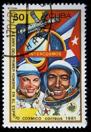 vostok: A stamp printed in the Cuba shows cosmonauts Armando Tamayo and Yury Romanenko, one stamp from a series, circa 1981.