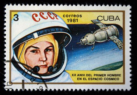valentina: A stamp printed in the Cuba shows women cosmonaut Valentina Tereshkova, one stamp from a series, circa 1981.