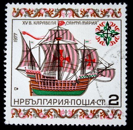 A stamp printed in Bulgaria shows carrack Santa Maria, one stamp from series, circa 1977 photo