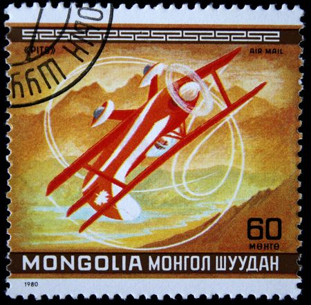 pits: A stamp printed in Mongolia shows sporting plane Pits, ona stemp from series circa 1980 Stock Photo