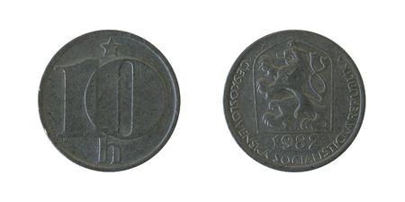 czechoslovak: Ten  Czechoslovak Heller. Isolated on white. Obverse and reverse. Not in use.