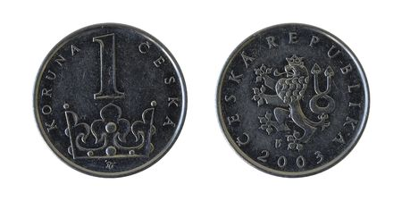 czech republic coin: One Czech Crown. solated on white. Obverse and reverse. Now in use.