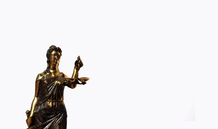 sword act: Femida - simbol of justis isolated on white Stock Photo