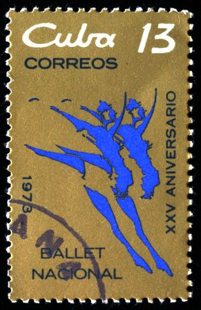 A stamp printed in Cuba honoring XXX anniversary of National ballet ob Cuba, circa 1973 photo