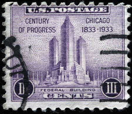 UNITED STATES OF AMERICA - CIRCA 1933: A stamp printed in the USA shows Federal Building in Chicago, circa 1933  Stock Photo - 7419135