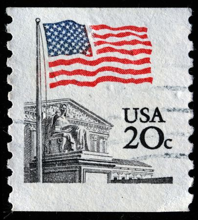 UNITED STATES OF AMERICA - CIRCA 1988: A stamp printed in the USA shows Flag Over Supreme Court Issue, circa 1988 Stock Photo - 7419125