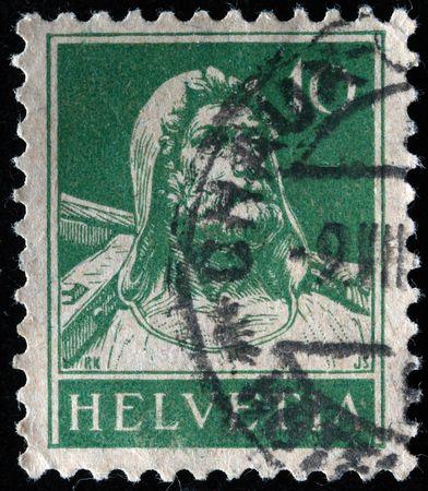 helvetia:  SWITZERLAND - CIRCA 1921: A stamp printed in Switzerland shows Wilhelm Tell, series, circa 1921