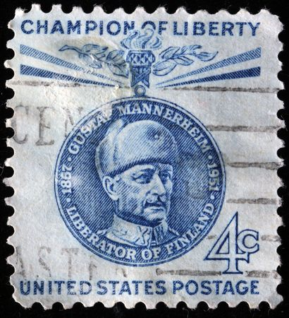 UNITED STATES OF AMERICA - CIRCA 1960: A stamp printed in the USA shows image of Carl Gustaf Emil Mannerheim, series, circa 1960 Stock Photo - 7419118