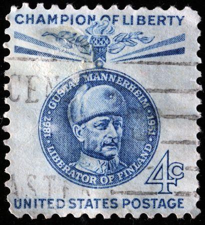 gustaf: UNITED STATES OF AMERICA - CIRCA 1960: A stamp printed in the USA shows image of Carl Gustaf Emil Mannerheim, series, circa 1960