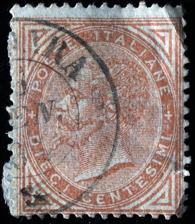 ITALY - CIRCA 1910s: A stamp printed in Italy shows image of King Victor Emmanuel III of Italy, circa 1910s  photo