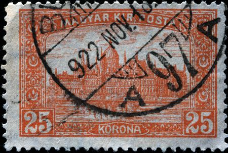 danuba:  HUNGARY - CIRCA 1938: A stamp printed in Hungary shows parlament building in Budapest, circa 1938