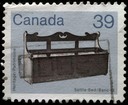 canada stamp: CANADA - CIRCA 1982: A stamp printed in Canada shows Settle-Bed, circa 1982  Stock Photo
